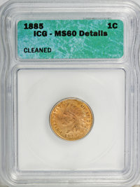 1885 1C --Cleaned--MS60 ICG. NGC Census: (0/200). PCGS Population (2/96). Mintage: 11,765,384. Numismedia Wsl. Price for...