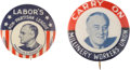 Political:Pinback Buttons (1896-present), Franklin D. Roosevelt: Pair of Scarce Labor Union Pinbacks.... (Total: 2 Items)