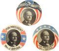Political:Pinback Buttons (1896-present), William Jennings Bryan: Three Scarce 1908 Presidential Campaign Portrait Pinbacks.... (Total: 3 Items)
