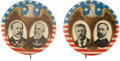 Political:Pinback Buttons (1896-present), Roosevelt and Parker: Pair of Matched 1904 Campaign Jugates.... (Total: 2 Items)