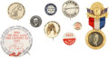 Political:Pinback Buttons (1896-present), Presidential Hopefuls: Large Group of Eight Pinback Buttons and One Badge, 1912-1952.... (Total: 9 Items)