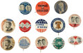 Political:Pinback Buttons (1896-present), Third Party Candidates: Large Group of Twelve Pinback Buttons and One Lapel Stud for Various Political Parties, 1896-1940.... (Total: 13 Items)