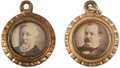 Political:Ferrotypes / Photo Badges (pre-1896), Cleveland & Harrison and Blaine & Logan: Matching 1884Campaign Charms with Back to Back Portraits.... (Total: 2 Items)