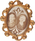 Political:Ferrotypes / Photo Badges (pre-1896), Wilson & Marshall: Beautiful 1916 Jugate Brooch....