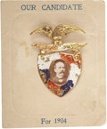 Political:Ribbons & Badges, Alton B. Parker: Super Pressed-Brass Badge on the Original Cardboard Backing....