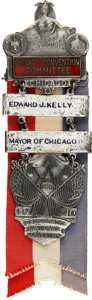 Political:Ribbons & Badges, Chicago Mayor Edward Kelly's Personal Badge from the 1940 Democratic National Convention....