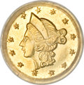 California Fractional Gold, Undated 25C Liberty Round 25 Cents, BG-201, High R.7, MS63 PCGS....