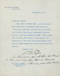 """Autographs:U.S. Presidents, William H. Taft Typed Letter Signed """"Wm H Taft"""" withHandwritten Postscript as President, Plus Two Photographs. ...(Total: 6 Items)"""