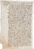 "Miscellaneous:Ephemera, Early Slave Sale Document, ca. mid-1500s. Two pages, front and verso, 8.5"" x 12.5"", December 6, 1553, [Peru], in..."