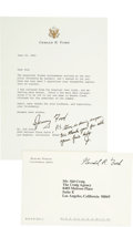 "Autographs:U.S. Presidents, Gerald Ford Typed Letter Signed ""Jerry Ford"" with PostscriptInitialed ""J"", along with a printed fra..."