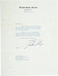"""Autographs:U.S. Presidents, Richard Nixon Typed Letter Signed """"Dick Nixon"""" as a U.S.Senator from California. One page, 7.25"""" x 10.5"""", September 8, ..."""