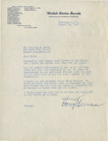 "Autographs:U.S. Presidents, Harry Truman Typed Letter Signed as U.S. Senator from Missouri. One page, 8"" x 10.5"", August 10, 1937, Washington, D.C., on ..."