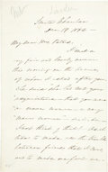 "Autographs:U.S. Presidents, [Abraham Lincoln] Senator Lafayette Foster Autograph Letter Signed.Six pages, 5"" x 8"", December 19, 1862, ""Senate Chamber..."