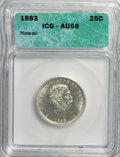 Coins of Hawaii, 1883 25C Hawaii AU58 ICG. NGC Census: (2/67). PCGS Population(1/67). Mintage: 14,400. Numismedia Wsl. Price for NGC/PCGS c...