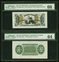 Fractional Currency:Third Issue, Fr. 1358SP 50¢ Third Issue Justice Wide Margin Pair PMG Gem Uncirculated 66 and Choice Uncirculated 64.... (Total: 2 notes)