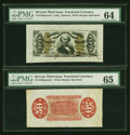 Fractional Currency:Third Issue, Fr. 1328SP/Fr. 1330SP 50¢ Third Issue Spinner Wide Margin Pair PMG Gem Uncirculated 65 and Choice Uncirculated 64.... (Total: 2 notes)