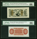 Fractional Currency:Third Issue, Fr. 1324SP 50¢ Third Issue Spinner Wide Margin Pair PMG Gem Uncirculated 66 EPQ and Gem Uncirculated 66.... (Total: 2 notes)