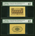 Fractional Currency:First Issue, Fr. 1282SP 25¢ First Issue Wide Margin Pair PMG Superb Gem Unc 67.... (Total: 2 notes)