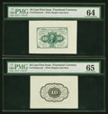 Fractional Currency:First Issue, Fr. 1243SP 10¢ First Issue Wide Margin Pair PMG Gem Uncirculated 65 and Choice Uncirculated 64.... (Total: 2 notes)
