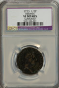 1723 1/2P Hibernia Halfpenny--Corroded--VF20 NCS. VF20 Details. This lot also includes a World coin a 1744 Ireland--Corr...