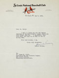 Autographs:Letters, 1931 Branch Rickey Signed Typed Letter. ...