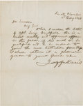 "Autographs:Statesmen, Jefferson Davis Autograph Political Appointment Letter Signed asU.S. Senator from Mississippi. One page, 8"" x 10"", February..."