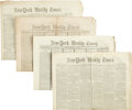 Miscellaneous:Newspaper, Lincoln Assassination Newspapers: Four New York Weekly Timesand one New York Times. All contain ass... (Total: 5 Items)