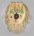 American Indian Art:Beadwork and Quillwork, A SANTEE SIOUX BEADED AND FRINGED HIDE DRAWSTRING POUCH. c. 1915...