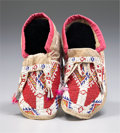 American Indian Art:Beadwork and Quillwork, A PAIR OF NORTHERN PLAINS BEADED HIDE MOCCASINS. c. 1945... (Total:2 Items)