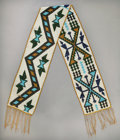 American Indian Art:Beadwork and Quillwork, A GREAT LAKES LOOM-BEADED SASH. c. 1880...