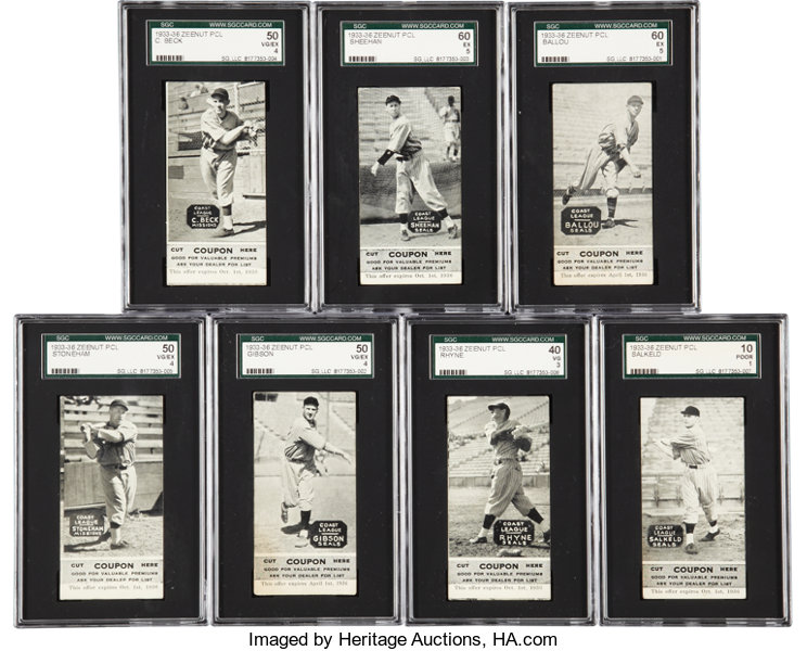 1933 36 E137 Zeenut Baseball Collection 7 All With Coupons