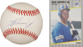 Autographs:Letters, Ken Griffey, Jr. Single Signed Baseball with Rookie Card. ...(Total: 2 items)