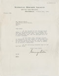 """Hockey Collectibles:Others, 1945 Mervyn """"Red"""" Dutton Signed Letter to Mush March...."""