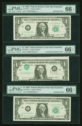 Error Notes:Inverted Third Printings, Fr. 1913-L $1 1985 Federal Reserve Notes. Three Consecutive Notes.PMG Gem Uncirculated 66 EPQ.. ... (Total: 3 notes)
