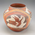American Indian Art:Pottery, A ZIA FOUR-COLOR STORAGE JAR. c. 1925...