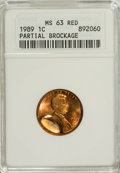 Errors, 1989 1C Partial Brockage MS63 Red ANACS....