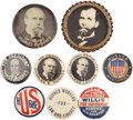 Political:Pinback Buttons (1896-present), Charles Evans Hughes: Nine Better Pinbacks from the 1916 Campaign.... (Total: 9 Items)