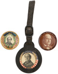 """Political:Pinback Buttons (1896-present), William Jennings Bryan: Three Colorful 1¼"""" Celluloid Portrait Buttons.... (Total: 3 Items)"""