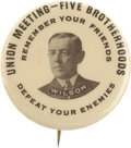 Political:Pinback Buttons (1896-present), Woodrow Wilson: One of the Rarest and Most Memorable Single-PictureWilson Button Varieties. ...