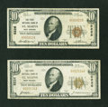 National Bank Notes:West Virginia, Two Saint Marys, WV - $10's 1929 Ty. 1 The First NB Ch. # 5226. ...(Total: 2 notes)