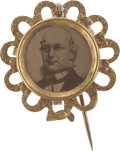 Political:Pinback Buttons (1896-present), Horace Greeley: Rare 1872 Portrait in Fancy Openwork Brass Frame....