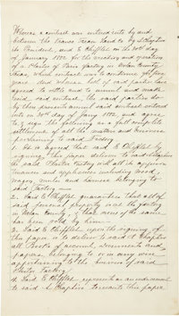 """Franco-Texan Land Company Manuscript Signed by President A. Chaptive. Two and one-half lined pages, 8"""" x 14""""..."""