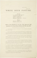"Miscellaneous:Ephemera, Pampa: White Deer Pasture Report of the Committee and BalanceSheet. Three pages, 8.5"" x 13.5"", July 25, 1907, London,""Pr..."