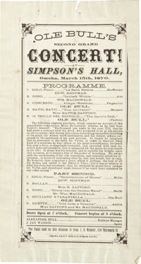 """Ole Bull Concert Advertisement, Omaha, Nebraska. One page, 3.75"""" x 7.75"""", affixed to a larger backing (4.75&qu..."""