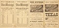 "Advertising:Paper Items, Ohio and Mississippi Railway Schedule, ""To all points in Texas,from November 15, 1877."" Folds out into four pan..."