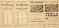 """Ohio and Mississippi Railway Schedule, """"To all points in Texas, from November 15, 1877."""""""