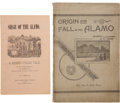 "Books:First Editions, [Alamo] Two Pamphlets, including: John S. ""Rip"" Ford. Origin andFall of the Alamo. San Antonio, 1895. First edi..."