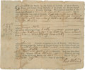 "Autographs:Statesmen, Theodorick Bland Colonial Court Document Signed Twice as courtclerk. One partially printed page, 7.5"" x 6.25"", August 6, 17..."