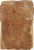 """Autographs:Military Figures, 18th Century Arithmetic Exercise Journal, Including a Revolutionary War Oath of Allegiance to King George III. This 8.5"""" x 1..."""