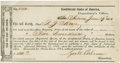 "Miscellaneous:Ephemera, Confederate Texas: Registered Bond. One partly printed bond, 7.75""x 4"", June 29, 1864. ""San Antonio"" is handwritten ove..."